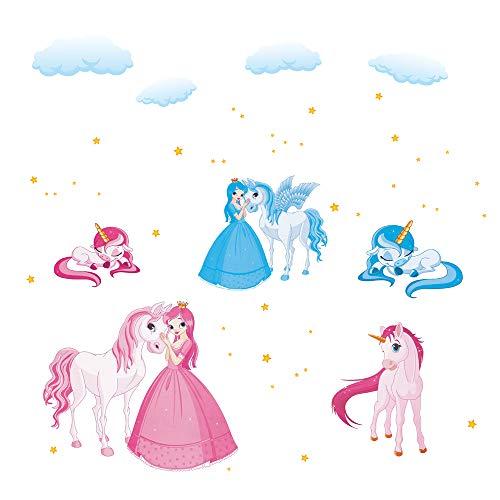 decalmile Unicornio Cuento De Hadas Princesa Pegatinas De Pared Nube Caballo Desmontable Adhesivos Pared Decorativos para Niños Infantiles Habitación