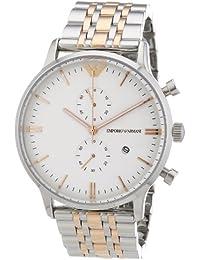 Emporio Armani AR0399 - Reloj cronógrafo de cuarzo para hombre, correa de acero inoxidable chapado multicolor