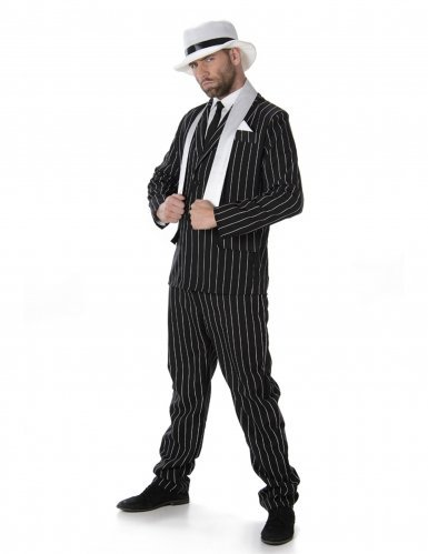 Gangster Boss Mens Fancy Dress 20s Mafia Pinstripe Anzug Erwachsene 1920er Jahre Kostüm (Kostüme Mafia Anzug)