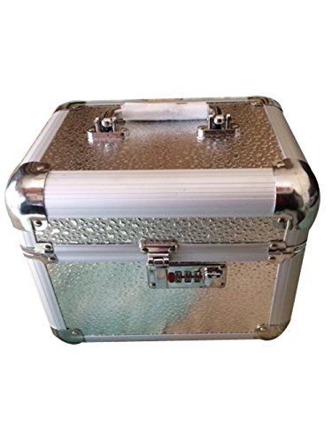 Platinum Makeup and Jewellery Box with lock-Big Silver