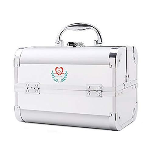 Erste-Hilfe-Box, 3-Lagige Medizin-Aufbewahrungsbox FüR Den Haushalt, Motion Lock-Medizinschrank Mit Schultergurt Und SchlüSsel, MedizinfäCher - Aluminium -
