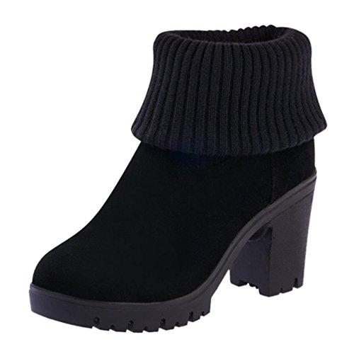 Damenschuhe,DOLDOA Gestrickte Nähen Kunstleder Chelsea Boots Hohen Absätzen Lange Stiefel (EU: 38, Schwarz ,Hohen Absätzen Lange Stiefel) (Schwarz Schnalle Stiefeletten)