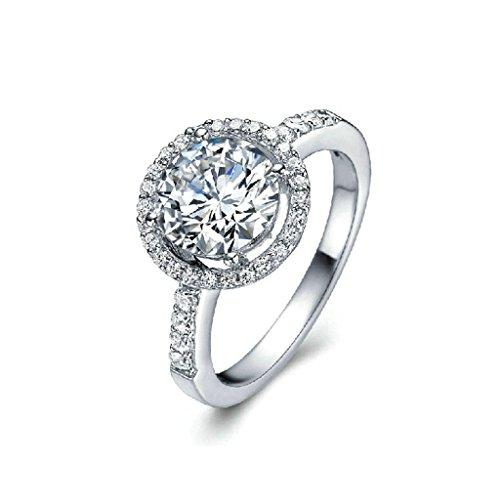 Daesar Vergoldet Ring Damen Eheringe 4-Prong Weiß Strass Ring Disc Ring für (Kostüme Eier Paare)