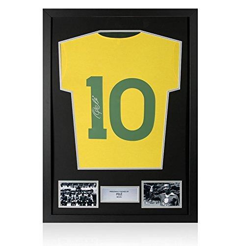Framed Pele Signed Brazil Number 10 Shirt - Signed On 1 In Silver Pen