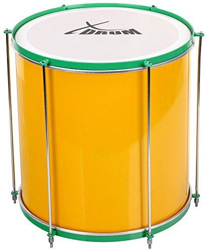 """XDrum SSD-1616 Surdo Samba Trommel, brasilianische Basstrommel 16"""" x 16"""" (5,5 kg, Aluminium, 6 Spannstangen) gelb-grün"""