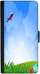 Snoogg An Airplane In The Sky Vecto Graphic Snap On Hard Back Leather + Pc Fl...