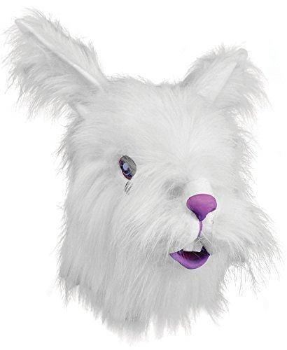 ren Gummi Voll Gesichtsmaske Animal Halloween Kostüm Kleid Outfit Zubehör - Pelz Weißen Kaninchen ()