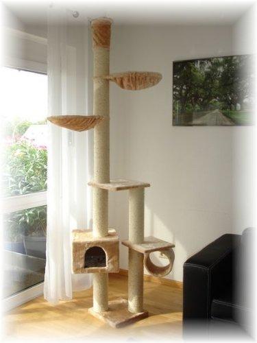 Katzenkratzbaum, Kratzbaum für Katzen, deckenhoch,beige,höhenverstellbar, dicke Sisalstämme 12cm Ø, Für Deckenhöhe 240-250cm
