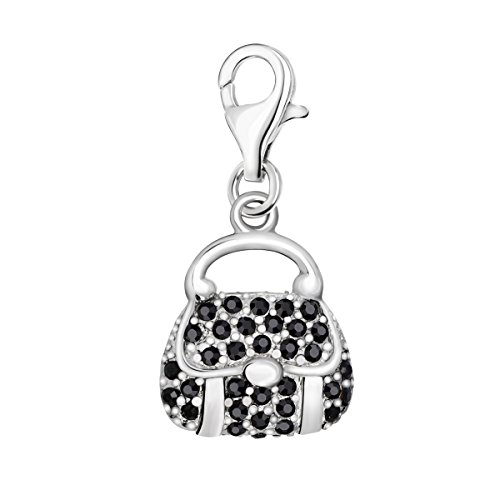 Quiges 925 Sterling Silver Zirconia Handbags Clip On Lobster Clasp Charm Pendant
