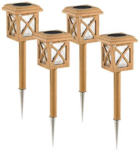 Lunartec Solar Laternen: Teakholz Outdoor Solarlampe 4er-Set (Garten Solar)