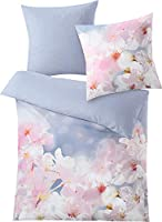 Kleine Wolke Satin Reversible Bed Linen Sakura, Multi-Colour, 155 cm x 220 cm, Blau, Set of 2