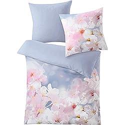Kleine Wolke Sakura Bettwäsche, Bettbezug, Baumwolle, Blau, 135 x 200 cm