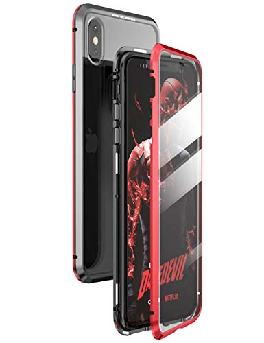 ZDCASE iPhone X Hülle,iPhone XS Hülle,360 Degrees Full Coverage Case Cover,Magnetic Adsorption Metal Bumper Frame with Built-In Front and Back Tempered Glass iPhone X/iPhone XS Schwarz+Rot