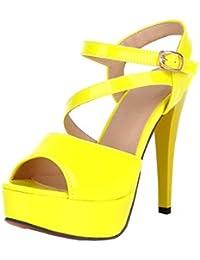 Y2Y Studio - Sandalias de Vestir de Sintético Mujer, Amarillo (Amarillo), 35 EU