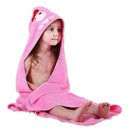 MICHLEY Kinder Mit Kapuze Babe Bad Handtuch,Tier Ärmellos Baumwolle Bademantel Für Kumpels Mädchen 0-6 Jahr(Pink)