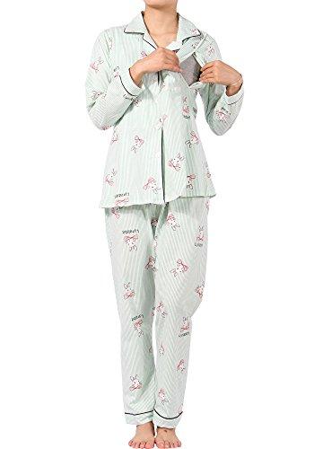 MAMAFLY Damen Stillpyjama Stillnachthemd für Schwangere Zweiteiliger Umstandsmode Still-Schlafanzug Diskretes Stillen Pyjamas