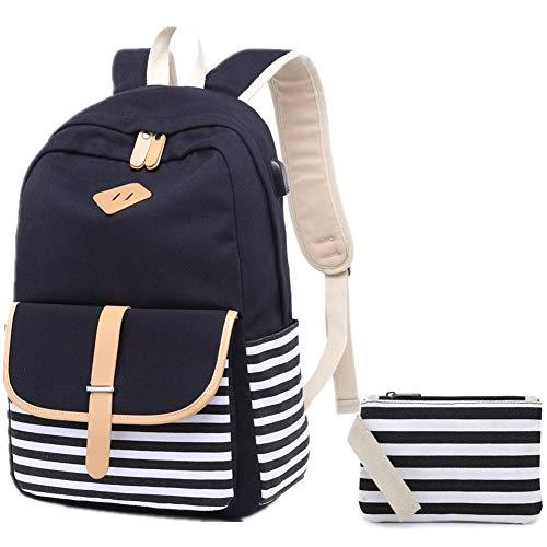 anvas rucksack damen Schultaschen Schulranzen Lässiger Schulrucksack für Madchen Jugendliche Jungen (Schwarz) ()
