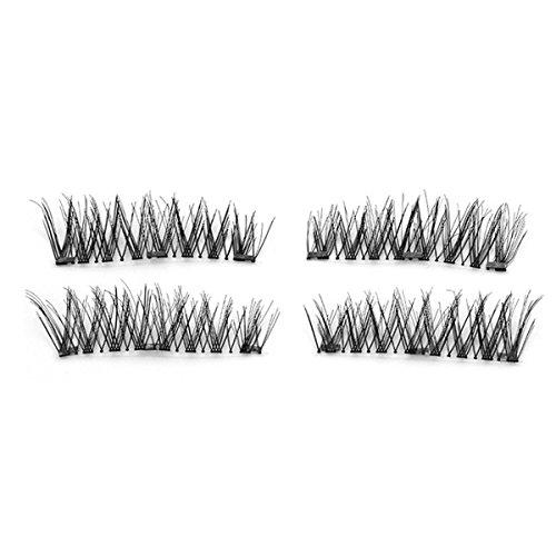 TOOGOO 1 paire / 4pcs Faux cils magnetiques longs a trois aimants 3D naturels Maquillage doux pour les yeux Extension de cils Outils de maquillage KS06-3