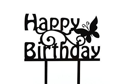 Topper Torte Cupcake Deko Happy Birthday Schmetterling Tortenaufsatz Geburtstag Tortenstecker Muffin Fondant Dekoration Acryl Schwarz CT2 ()
