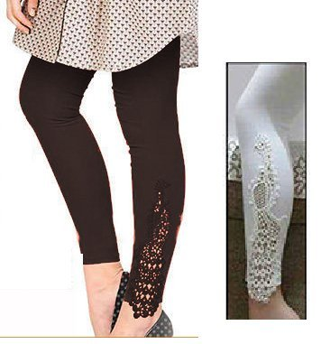 combo pack of two(Designer peacock patch lace black+white)colour ankle length leggings for...