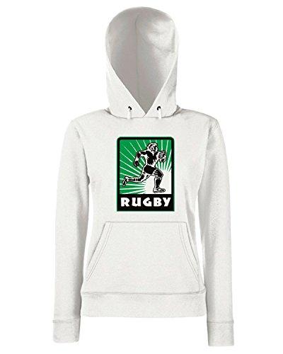 T-Shirtshock - Sweats a capuche Femme TRUG0058 rugby player running logo Blanc