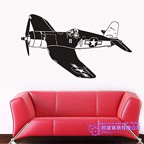 yaoxingfu Flugzeug Aufkleber Fahrzeug Aufkleber Classic Aircraft Poster Vinyl Wall Decals Flugzeug Parede Decor Wandbild Flugzeug Sti gelb 80x138 cm