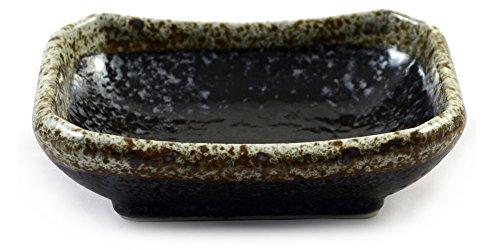 Japanische Keramik Soja & Wasabi-Sauce Sushi Teller In Schwarz Speckle Glasiertem Steingut - 9 Cm (Gesprenkelte Steingut)