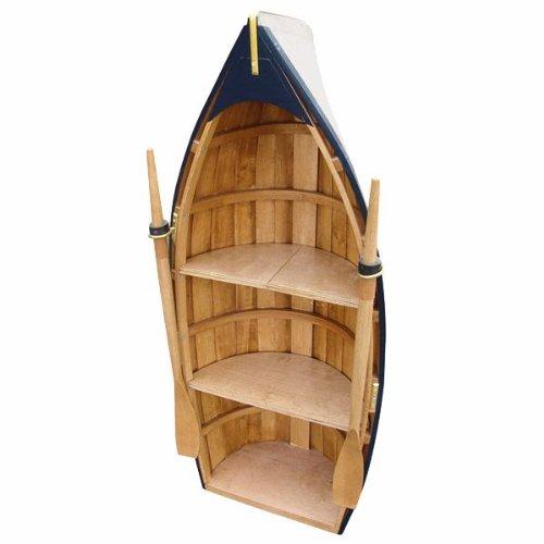 Maritimes Regal in Bootsform- mit Paddeln- Holz- teilweise bemalt