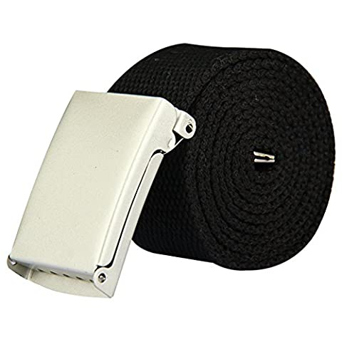 CellDeal Mens Plain Webbing Canvas Belt Fit 32 to 52 inch Black