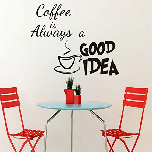 Kaffee ist immer eine gute Idee Vinyl Wandtattoo Zitate Hauptdekor diy Kunst Tapete entfernbare Wandaufkleber 44x40cm