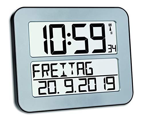 TFA Dostmann TimeLine Max Funkuhr, Wanduhr, digital, mit Wochentag und Weckfunktion, silber, 60.4512.54