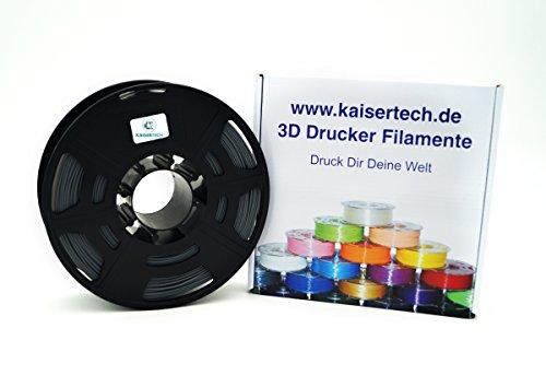 Kaisertech Filament für 3D Drucker 1kg PLA/ABS 1.75mm / 3mm - Premium Qualität & verschiedene Farben für MakerBot RepRap MakerGear Ultimaker uvm. 22 Farben (PLA 1.75mm, Grau)