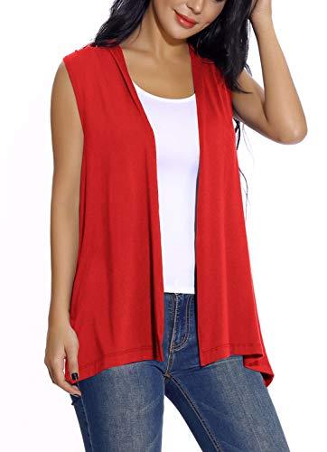 EXCHIC Damen Lässig Armellose Leichte Offene Tunika Weste Strickjacke (XL, Rot) (Weste Xl Damen)