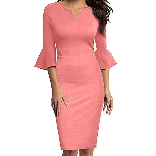Damen Kleider Elegant BusinesskleidBleistftkleid V-Neck Bodycon Knielanges Kleid Dasongff Frauen Solide Pencil Minikleid Tunikakleid Weihnachtskleid mit Horn Hülse