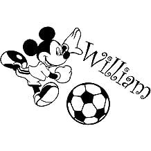 Mickey Mouse con su nombre elegido 60cm x 40cm elegir color 18colores en stock infantil Disney, pelota, baloncesto, fútbol, cualquier nombre, personalizable nombre, dormitorio, cuarto de niños pegatinas, vinilo de coche, Windows y adhesivo decorativo para pared, de pared Windows Art, dodoskinz, diseño de vinilo adhesivo ThatVinylPlace