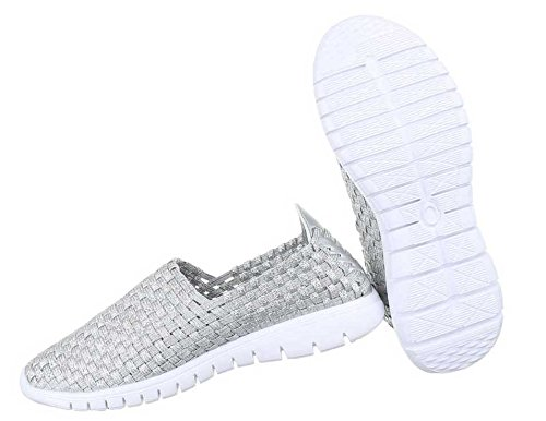 Damen Halbschuhe Schuhe Slipper Schwarz Silber