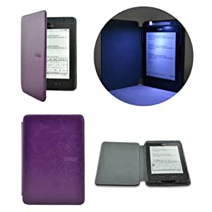 Lighted Smart Leather Cover Sleeve Case Built-in-LED Light For Amazon Kindle 4 (Purple)