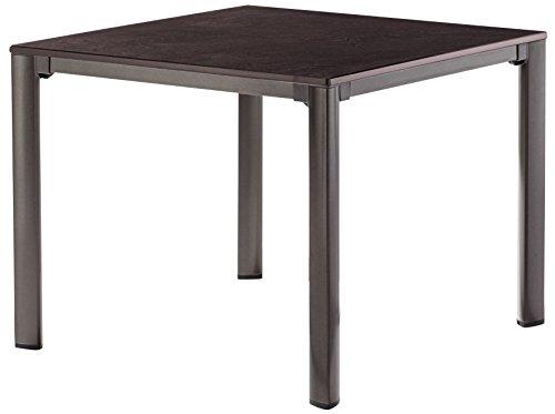 Sieger 1740-70 KT Exclusiv-Tisch mit Puroplan-Platte, 95 x 95 cm, Gestell Aluminium marone,...
