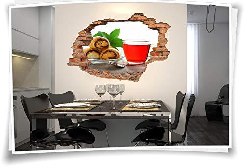 Medianlux Fliesen-Bild Wand-Durchbruch 3D Fliesen-Aufkleber Teig-Waren Limonade Tasse, 150x100cm