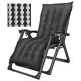 DQCHAIR Übergroße Zero Gravity Patio Chaise Lounges im Garten und im Freien Liegestühle Klappbar Mit Wattepad Gartenstühle Unterstützung 200Kg Schwarz