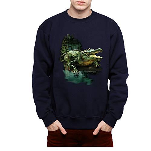avocadoWEAR Alligator Krokodil Sumpf Herren Sweatshirt Marineblau 2XL Alligator-sweatshirt