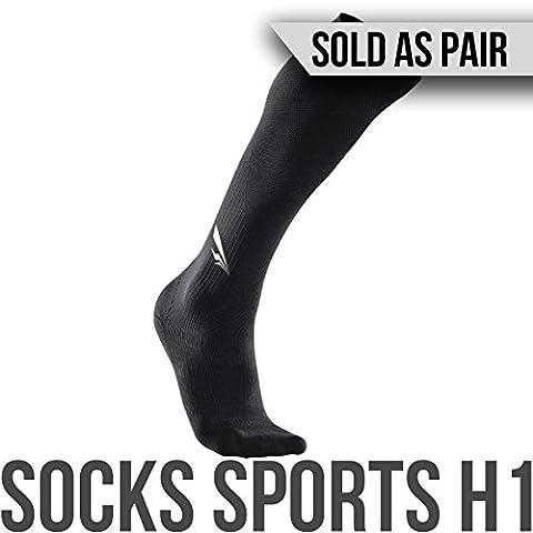 2nd Era Socken Sport H1–Damen & Herren Athletic Compression Sport Abgestufte Hohe Socken–Für Elite Athleten: Laufen, Radfahren, Crossfit, Kreuzheben, und Bein Schutz und Wiederherstellung Therapie–Verkauft als Paar, schwarz