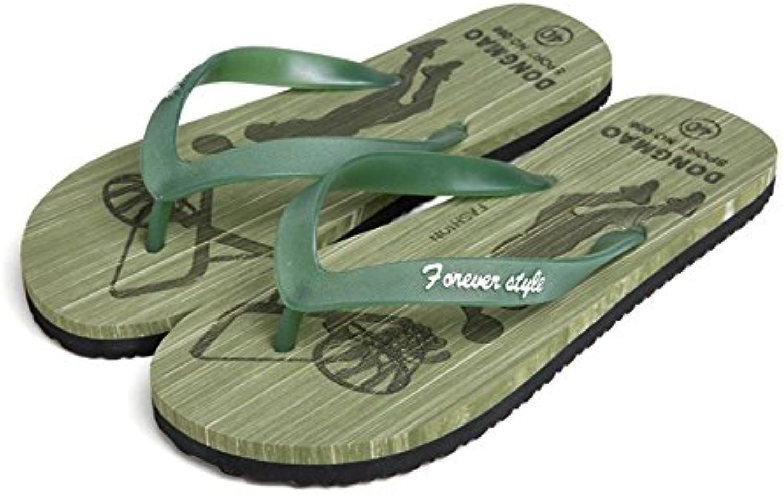 Beauty leader Chancletas Hombres Plano con Casual Sandalias Pellizcar Antideslizante Resistente al desgaste Zapatos  -