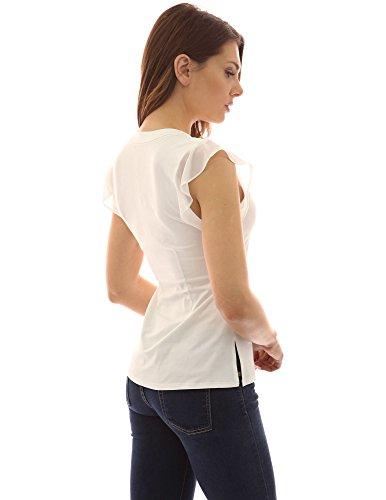 PattyBoutik femmes blouse col V sans manches Blanc