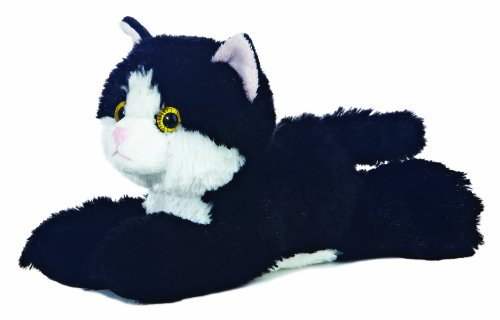 Aurora 8-inch Flopsie Cat (Black/White)