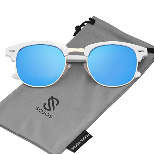 SOJOS Herren Brille Nerdbrille Brillenfassungen Wechselgläser Silikone Nasenpolster SJ5018 (C07 Weiß Rahmen/Blau Linse) - Männer Weiße Für Brillengestelle