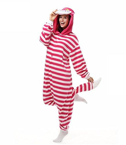 (WRH Kigurumi Pyjamas Cosplay/Katze Chesire Katze Trikot/Onesie Festival/Urlaub Tier Nachtwäsche Halloween Rot Patchwork Korallen Fleece, xl)