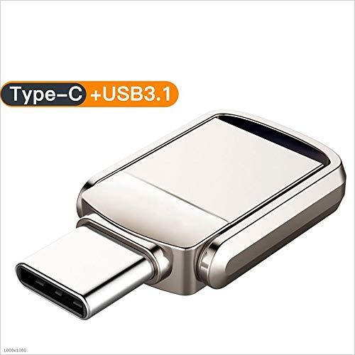 CHJL USB-Stick Pen Drive Hochgeschwindigkeits USB3.1 wasserdichtes Computer Telefon Dual Interface Metall Speichererweiterung 16/32/64 / 128GB USB Speicherstick (Kapazität : 64GB) - 4 Gb Speicherplatz Auf Der Festplatte