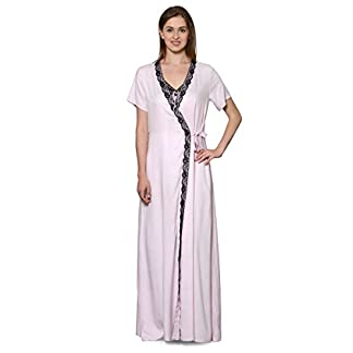 1c831d1f5b Patrorna Cotton Viscose Women s Lace Work Nighty with Robe in Baby  Pink(Size S-7XL