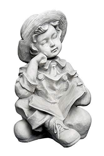 gartendekoparadies.de Massive große Steinfigur Junge mit Buch Kinderfigur aus Steinguss frostfest